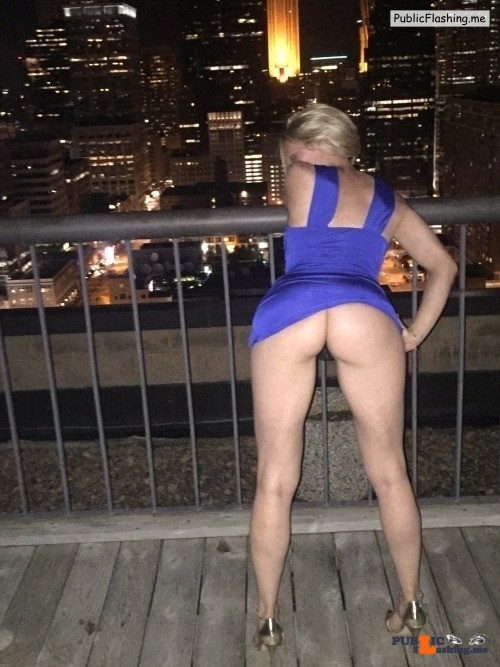 Blonde hot wife purple mini dress upskirt panties less on balcony