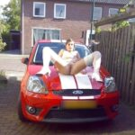 UK hot wife spread legs on Ford Fiesta bonnet