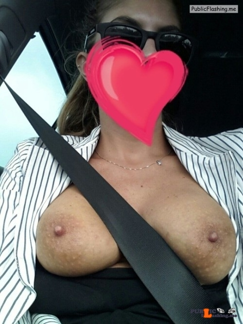 Outdoor nude selfshot Car boob selfies