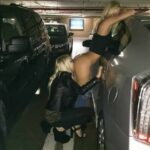 Two lesbian blondes ass licking parking garage