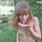 Teen tasting cum in public park