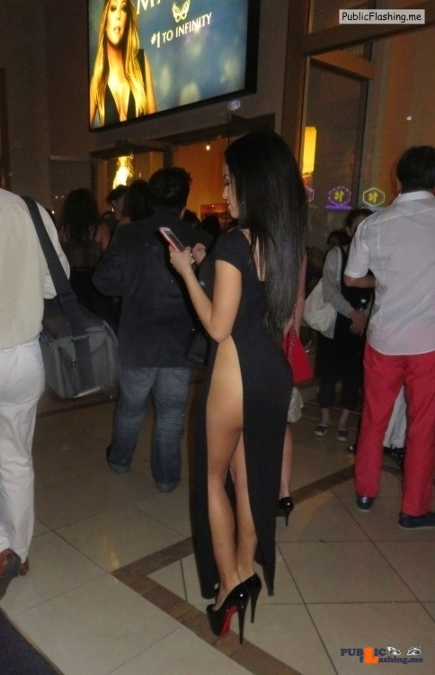 Long black evening dress no panties and high heels