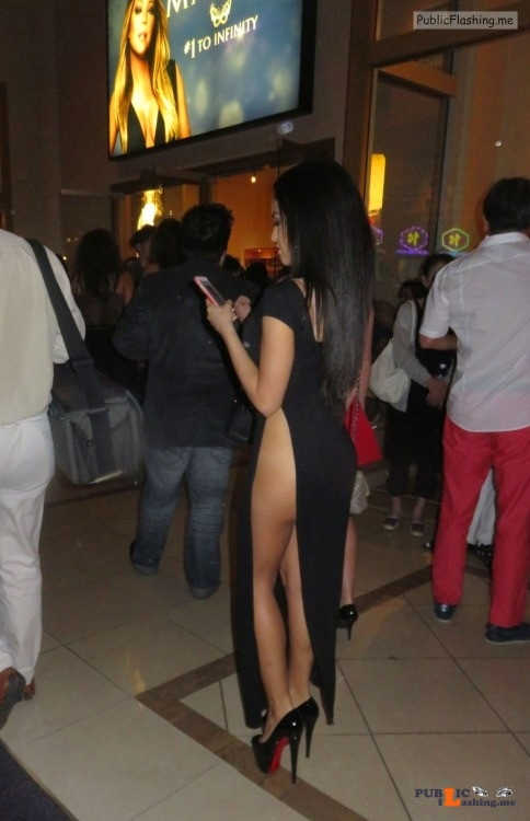 Long black evening dress no panties and high heels Public Flashing
