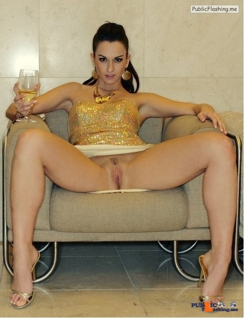 Pussy pics Pussy Public Flashing Pictures Public Flashing Photo Feed No panties pics No panties : Luxury wife is wearing beautiful sparkling golden dress, sitting on the sofa with legs spread apart and drinking expensive champagne. She is wearing no panties and posing to the camera while her perfectly shaved pussy is exposed totally and ready...