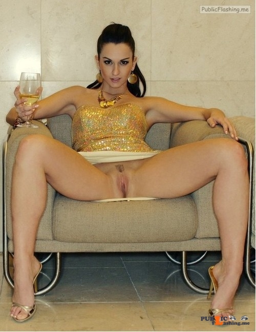 Luxury wife drinking champagne pantiesless Public Flashing