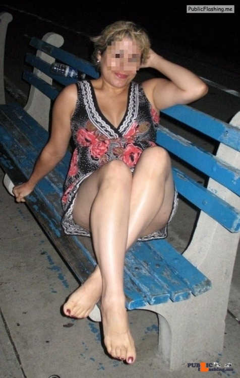 No panties sharemylatinawife: Sitting on a park bench flashing with no… pantiesless
