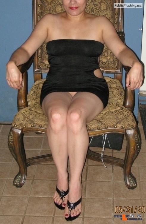 No panties Wife goes commando in her slut dress last May Well, May is just… pantiesless