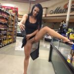 Public flashing photo flashthegash: Brunette shopping commando style