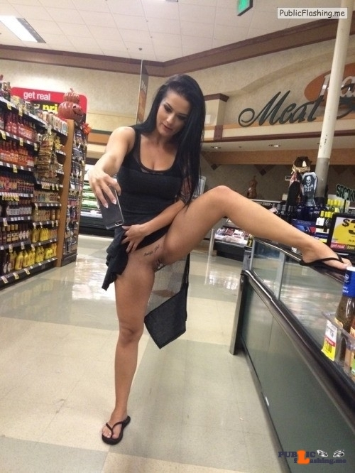 Bottomless GF taking selfie of her tattooed pussy in public supermarket