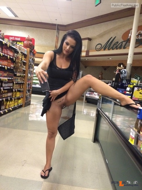 Bottomless GF taking selfie of her tattooed pussy in public supermarket Public Flashing