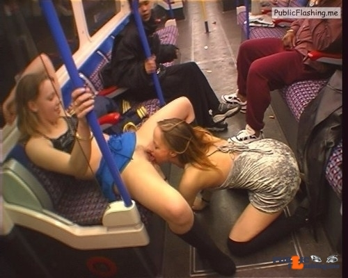 Lesbian pussy licking in public transport caught by security camera