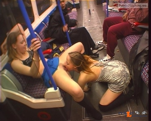 Lesbian pussy licking in public transport caught by security camera Public Flashing