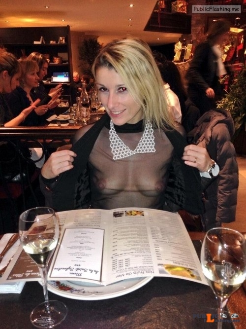Blonde wife in black see trough blouse no bra in restaurant Public Flashing