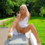 Public flashing photo flashthegash: Blonde park pussy