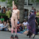 Public nudity photo p-s-s:Smiling, she knew everyone was looking at those cunt…