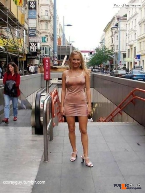 Public flashing photo carelessnaked: Almost nude in a transparent dress in a public…