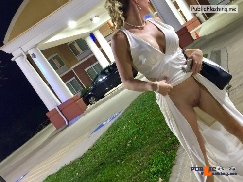 Hot wife in evening dress pussy flashing NO PANTIES