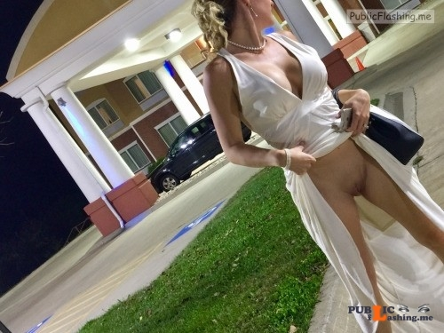 Hot wife in evening dress pussy flashing NO PANTIES Public Flashing