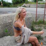 Public nudity photo outdoornudeselfpics:Cute Blonde shy public Strip Follow me for…