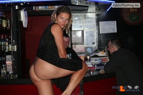 Public Flashing Photo Feed No panties MILF Hot Wife Ass Amateur : Hot wife in black dress wearing no panties and flashing big ass at a bar for some strangers. She is obviously only girl in this bar full of alcoholics. Hot wife flashing ass at bar and seducing strangers