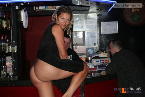 Hot wife flashing ass at bar and seducing strangers Public Flashing