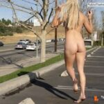 Public nudity photo kinkissx:blond slave girl running in a parking lot Follow me for…
