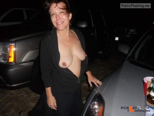 Mature woman flashing saggy tits in the parking lot Public Flashing