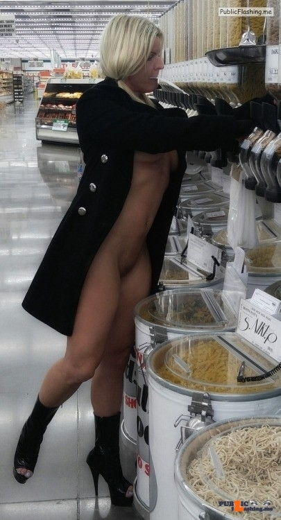Blonde in supermarket, black coat, open front, NO UNDERWEAR flashing