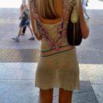 Pantiesless blonde in transparent dress