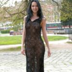 Transparent black dress no underwear in public park
