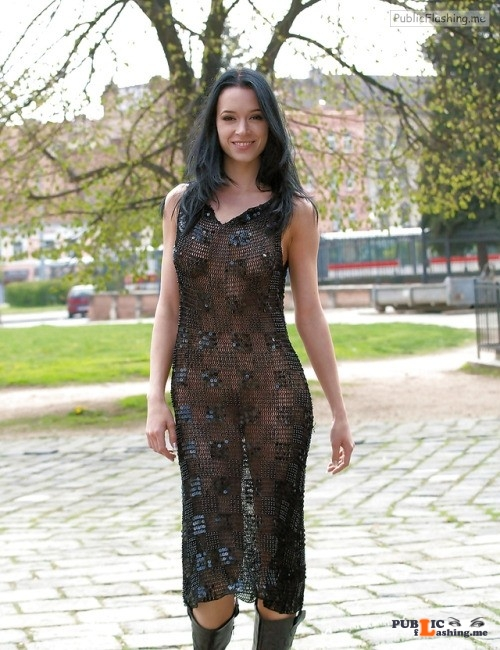 Transparent black dress no underwear in public park Public Flashing