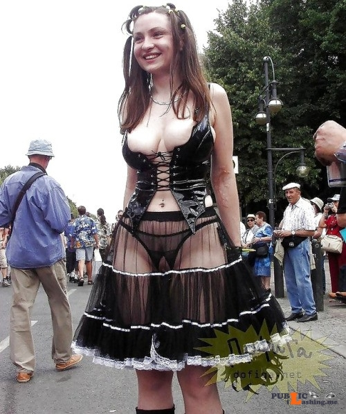 Public nudity photo carelessnaked:In a transparent skirt and crotchless panties and... Public Flashing