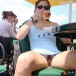 No panties veryhotw1fe: Love having her show it off in public pantiesless