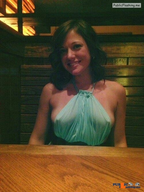 Exposed in public More breast than dress…