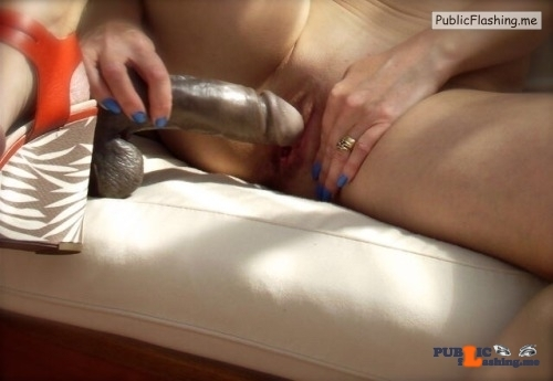 Exposed in public Caught my wife playing in the garden…