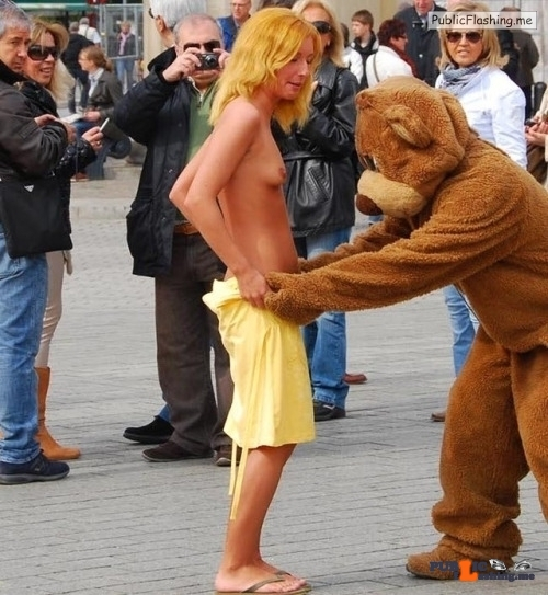 Public nudity photo yummyyuck: Maria J- undressed in public by a cartoon…