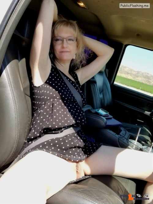 No panties Commando car ride pantiesless