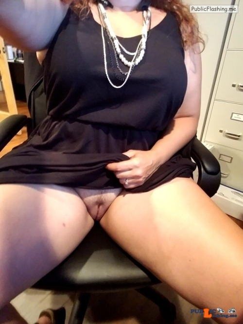 Public Flashing Photo Feed : No panties voodoopussy1000: She needed aired out while sitting at my desk?… pantiesless