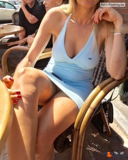 Public Flashing Photo Feed : No panties mymihotwife: Waiting for my coffee. Re blog if you like it pantiesless