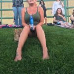No panties milehighhotwife: If you look close, you'll see she forgot her… pantiesless