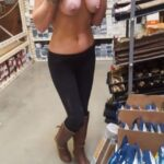 Public exhibitionists nudeandnaughtyflashing: Having some fun in the hardware store