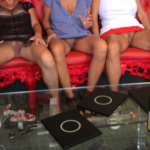 No panties luvinmylyf: Triple Flash in The Wine Bar pantiesless