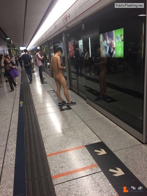 Public nudity photo walkingandswinging:Brave guy in Hong Kong… Follow me for more…