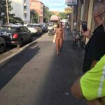 Public nudity photo exposed-on-public:Naked girl walking in Bologna, Italy…