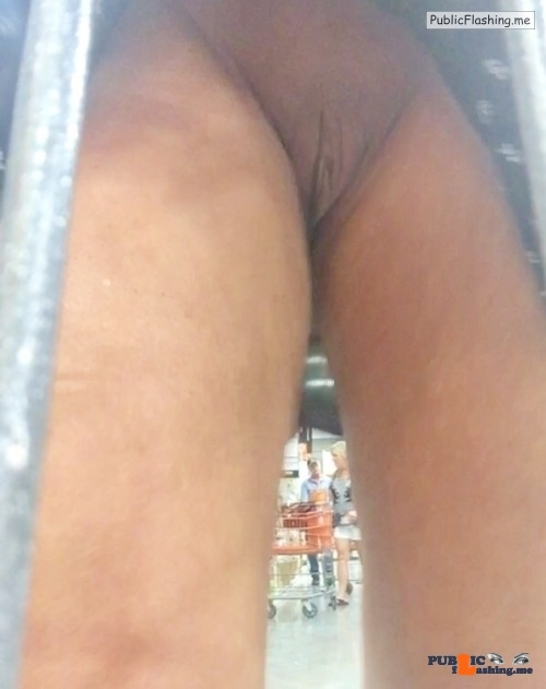 No panties justforfunalways: Upskirt at Home Depot pantiesless