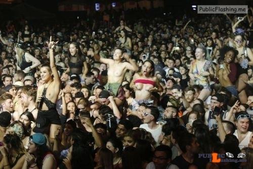 Public Flashing Photo Feed : Public nudity photo festivalgirls:Girls showing the girls at Ultra…