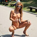 Public nudity photo p-s-s:Slut squatting :) Follow me for more public…