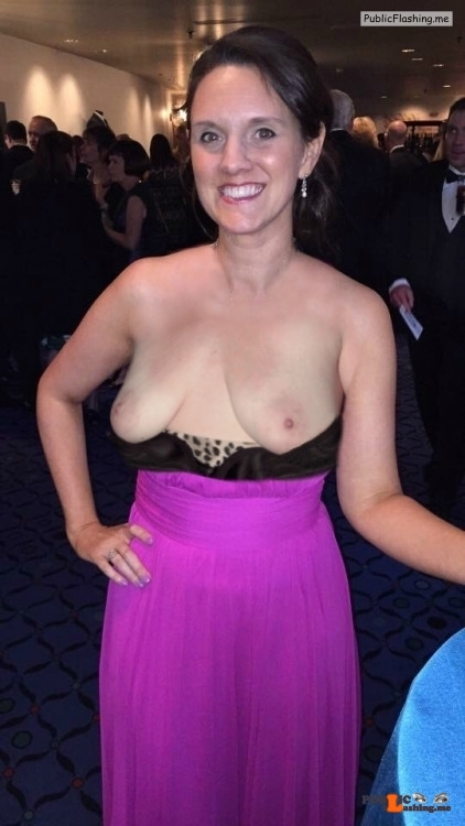 Exposed in public Flashing at the black tie gala…