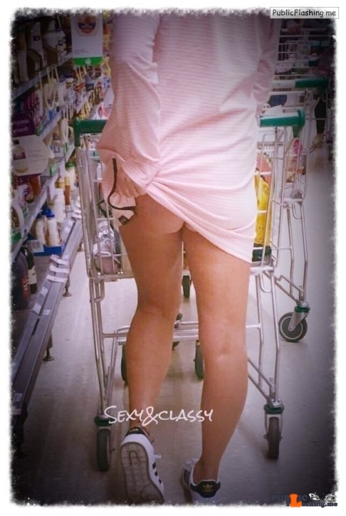 """Public Flashing Photo Feed : No panties sexyandclassycouple: """"No panties grocery shopping"""" ?? For more… pantiesless"""