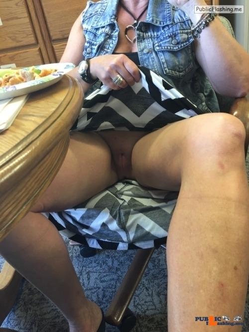 No panties okiefun15: I love lunch with Mrs Okiefun! pantiesless
